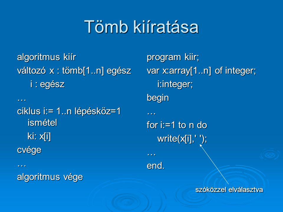 Tömb kiíratása algoritmus kiír változó x : tömb[1..n] egész i : egész